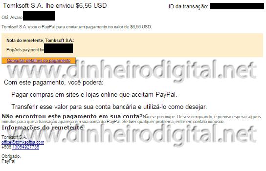 pagamento popads